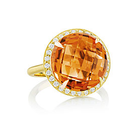 Orange Citrine and Diamond Halo Carey Ring
