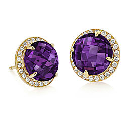 Amethyst and Diamond Halo Stud Carey Earrings