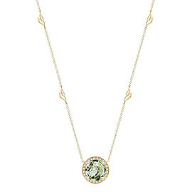 Green Quartz and Diamond Halo Pendant With Leaf Detail Chain 18""