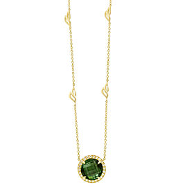 Green Tourmaline and Diamond Halo Pendant With Leaf Detail Chain 18""