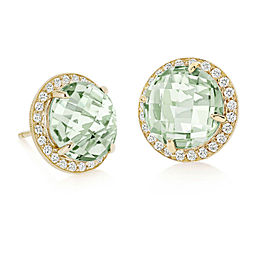 Green Quartz and Diamond Halo Stud Carey Earrings