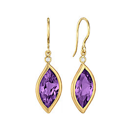 Amethyst and Diamond Leaf Hook Drop Earrings