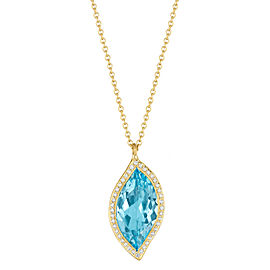 Blue Topaz and Diamond Halo Leaf Pendant 16""