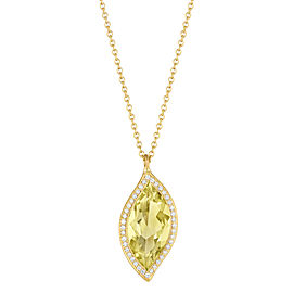 Lemon Quartz and Diamond Halo Leaf Pendant 16""