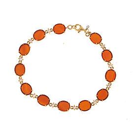 18k Yg Oval Mini Red Agate and Brown Diamond 12 Link Tivoli Ii Bracelet