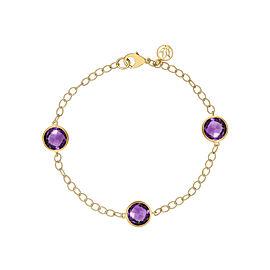 "Amethyst 3 Station Chain Bracelet 7"""