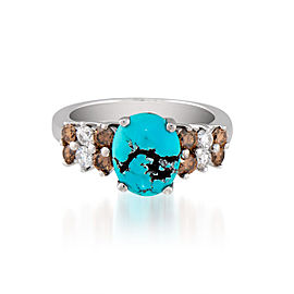 Le Vian Certified Pre-Owned Robin's Egg Turquoise and Chocolate & Vanilla Diamonds Ring set in 14k Vanilla Gold