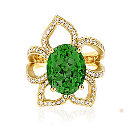 Green Tourmaline and Diamond Flower Ring