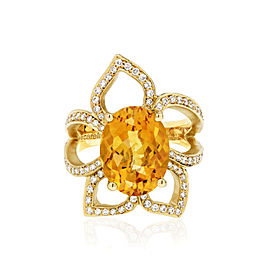 Orange Citrine and Diamond Flower Ring