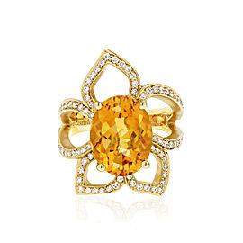 Orange Citrine and Diamond Flower Ring