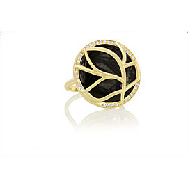 Black Onyx and Diamond Disk Brooke Leaf Ring