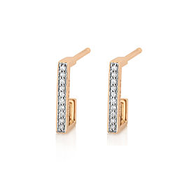 GINETTE NY 18K Rose Gold Diamond Art Deco Hoops
