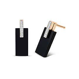 GINETTE NY 18K Rose Gold Onyx And Diamond Art Deco Earrings