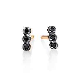GINETTE NY 18K Rose Gold Black Diams Strip Studs