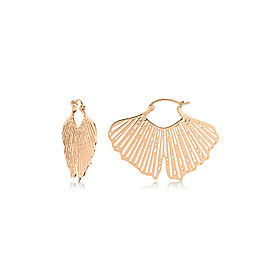 GINETTE NY 18K Rose Gold Gingko Hoops