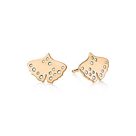 GINETTE NY 18K Rose Gold Diamond Gingko Studs