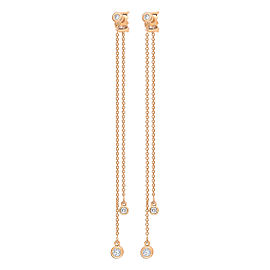 GINETTE NY 18K Rose Gold Double Lonely Diamond Earrings