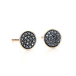 GINETTE NY 18K Rose Gold Black Diamond Sequin Studs