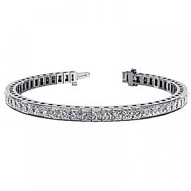 4.50 Carat Total Princess Cut Diamond Channel Set White Gold Bracelet