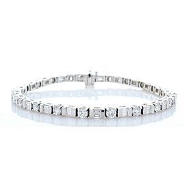 4.05 Carat Total Weight Diamond White Gold Fancy Tennis Bracelet