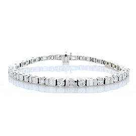 4.05 Carat Total Weight Diamond White Gold Fancy Tennis Bracelet