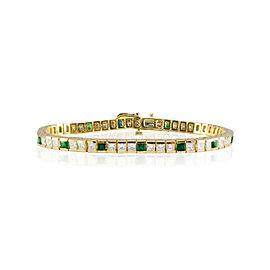 6.20 Carat Total Weight Emerald and Diamond Yellow Gold Tennis Bracelet