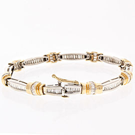 3.50 Carat Total Baguette Diamond Two-Tone Bracelet in 14 Karat
