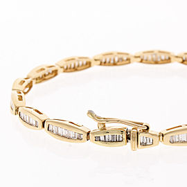 3.30 Carat Total Baguette Diamond Bracelet in 14 Karat Yellow Gold