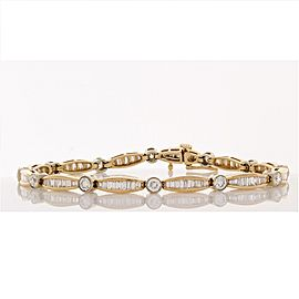 3.90 Carat Total Baguette and Round Diamond Bracelet in 14 Karat Yellow Gold