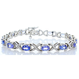 6.90 Carat Total Oval Tanzanite White Gold Bracelet