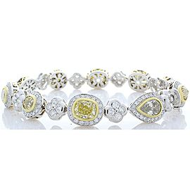 12.40 Carat Total Natural Fancy Yellow Diamond and White Diamond Bracelet