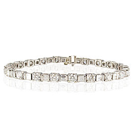 6.50 Carat Total Round and Baguette Diamond White Gold Bracelet