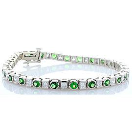 6.32 Carat Total Round Tsavorite and Princess Cut Diamonds White Gold Bracelet