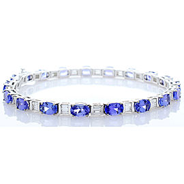10.10 Carat Total Oval Tanzanite And Baguette Diamond Bracelet In 14K White Gold