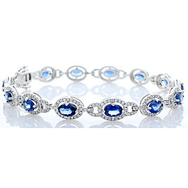 7.63 Carat Total Blue Sapphire and Diamond Bracelet in 18 Karat White Gold
