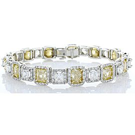 10.05 Carat Total Cushion Cut Fancy Yellow Diamond Bracelet in Platinum