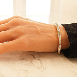 6.60 Carat Total Princess Cut Diamond Bracelet in 14 Karat Yellow Gold