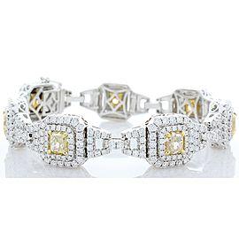 EGL USA Certified 7.73 Carat Total Cushion Cut Yellow Diamond Bracelet In 18K