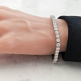 Eglusa Certified 11.26 Carat Total Round Diamond Tennis Bracelet in White Gold