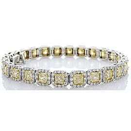 3.26 Carat Total Radiant Cut Fancy Intense Yellow Diamond Two-Tone Bracelet
