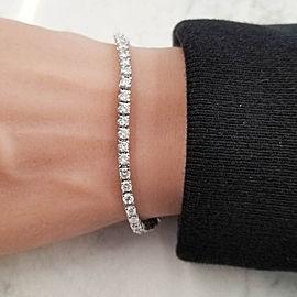 4.40 Carat Total Round Diamond 4 Prong Tennis Bracelet in 14 Karat White Gold