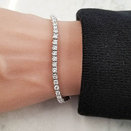 4.40 Carat Total Round Diamond 4 Prong Tennis Bracelet in 14 Karat White Gold