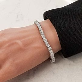 10.91 Carat Total White Diamond Tennis Bracelet in 14 Karat White Gold