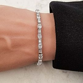 6.70 Carat Total Oval and Baguette Diamond Bracelet in 18 Karat White Gold