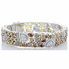 25.66 Carat Total Fancy Brown Diamonds Bracelet in 18 Karat White Gold