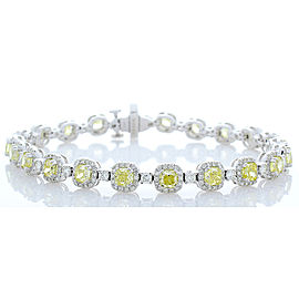 6.36 Carat Total Cushion Cut Fancy Yellow Diamond Bracelet in 14 Karat Gold