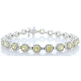 7.00 Carat Total Cushion Cut Fancy Yellow Diamond Bracelet in 14 Karat Gold
