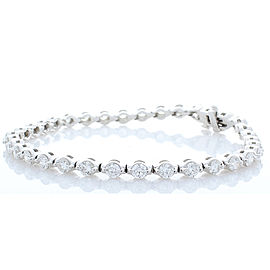 3.85 Carat Total Diamond Tennis Bracelet in 14 Karat White Gold