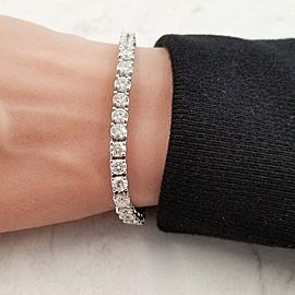 12.05 Carat Total Round Diamond 4 Prong Tennis Bracelet in 14 Karat White Gold