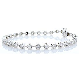 2.23 Carat Total Diamond Tennis Bracelet in 14 Karat White Gold